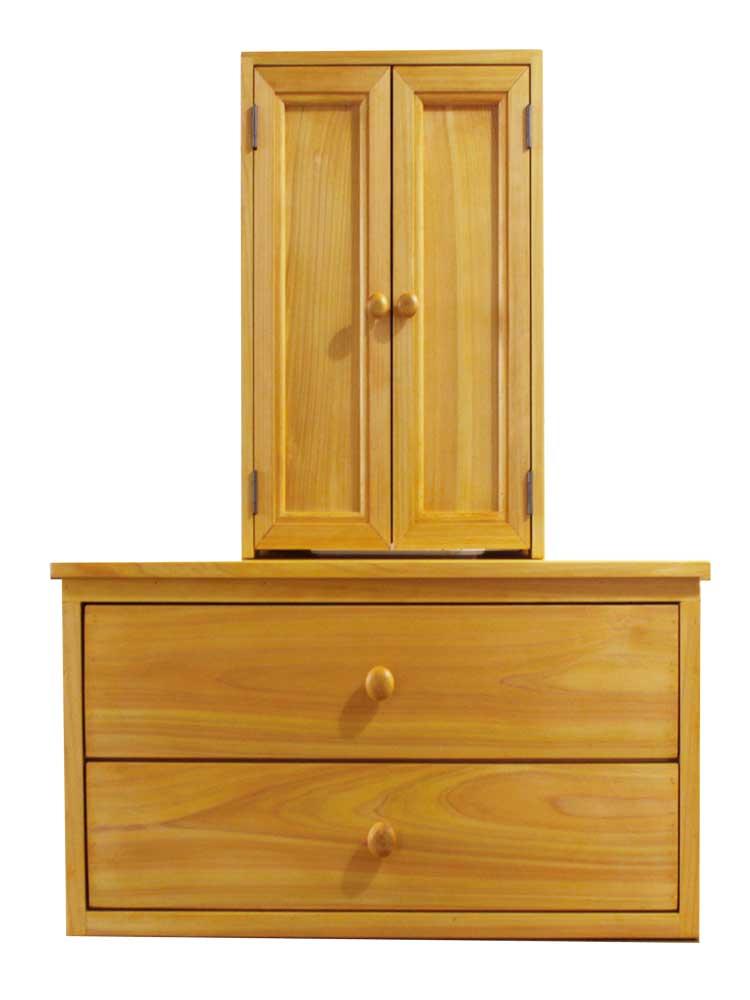 ペットのお仏壇とチェストのセット 木製つまみ 二段引出し 木製 ひのき ハンドメイド オーダーメイド 1361898