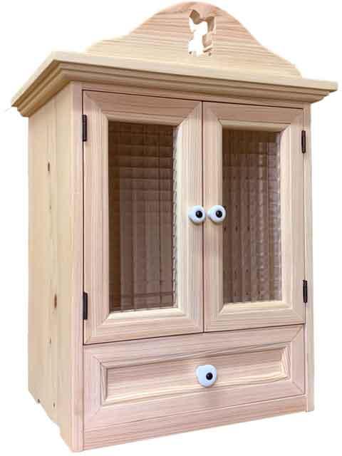 ペットのお仏壇 チェッカーガラス扉 引き出し パピヨン 35×25×40cm 無塗装白木 木製 ひのき ハンドメイド オーダーメイド