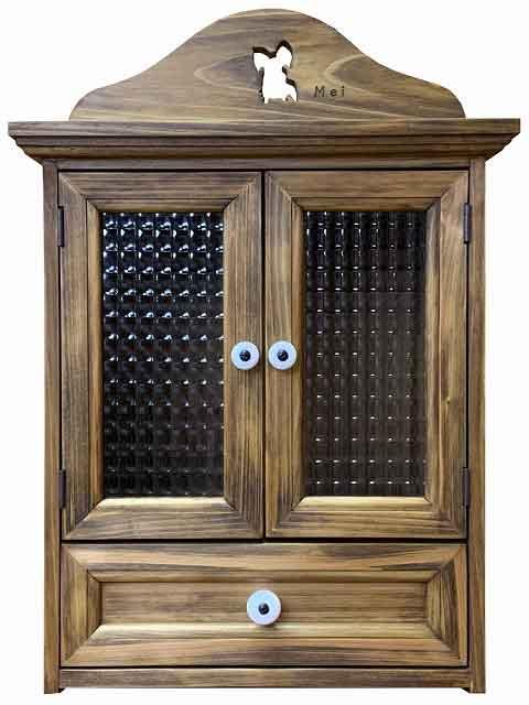 ペットのお仏壇 パピヨン チェッカーガラス 引き出しつき 35×25×40cm アンティークブラウン 木製 ひのき ハンドメイド オーダーメイド