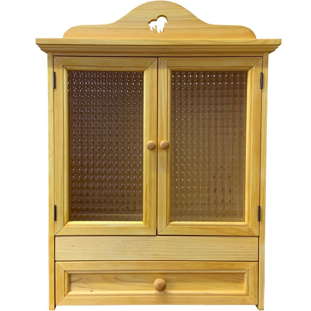 ペットのお仏壇 くり抜きボード シーズー スライド棚 引出し 49x29x56cm ナチュラル 木製取っ手 木製 ひのき ハンドメイド オーダーメイド 1361898