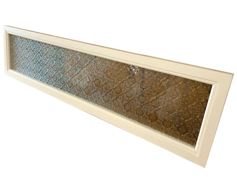 ガラスフレーム フローラガラス 片面仕様 80×20cm アンティークホワイト 木製 ひのき ハンドメイド オーダーメイド 1327933