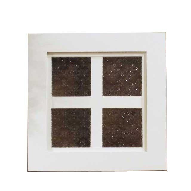フィックス窓 木製 ひのき アンティークホワイト フローラガラスの室内窓 両面十字桟入り 25×3.5×25cm 北欧 オーダーメイド 1327933