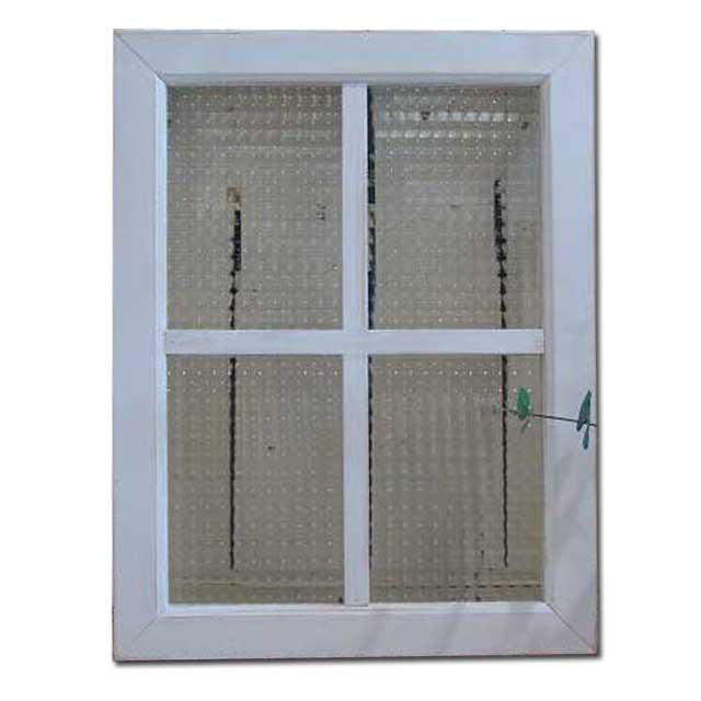 フィックス窓 木製 ひのき チェッカーガラス アンティークホワイト シャビー仕上げ 室内窓 両面十字桟入り 40×52cm・厚み3.5cm 北欧 オーダーメイド 1327933