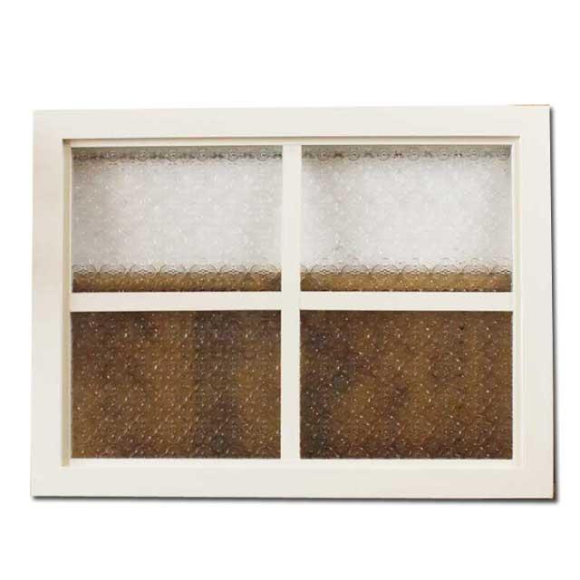 フィックス窓 木製 ひのき アンティークホワイト フローラガラスの室内窓 両面十字桟入り 60×45cm・厚み3.5cm 北欧 オーダーメイド 1327933