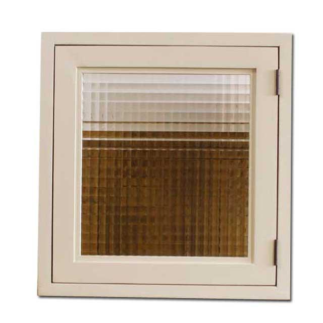 室内窓 採光窓 片右開き チェッカーガラス アンティークホワイト 木製 ひのき 43×15×42cm 扉厚み3cm マグネット仕様 オーダーメイド