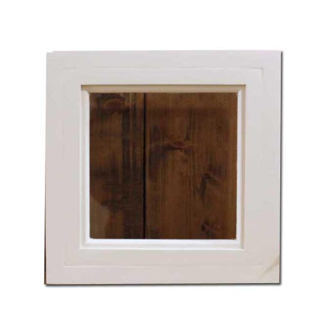 フィックス窓 木製 ひのき アンティークホワイト 透明ガラスの窓枠つき室内窓 採光窓 26×13×26cm オーダーメイド 1327933