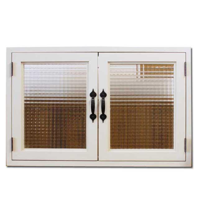 室内窓 採光窓 木製 ひのき チェッカーガラス扉 アンティークホワイト 両面ガラス窓 アイアン取っ手 70×15×45cm扉厚み3cm オーダーメイド 1327933