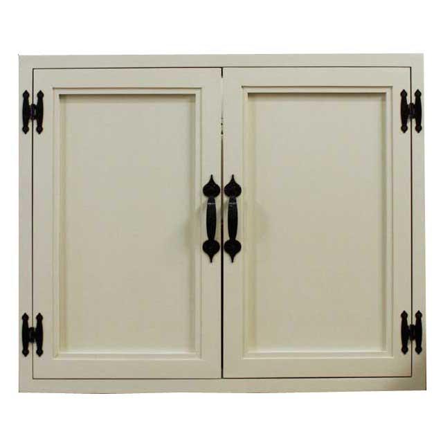 室内窓 採光窓 木製 ひのき 木製扉 両面取っ手 マグネット仕様 60×4.5×50cm アンティークホワイト オーダーメイド 1327933