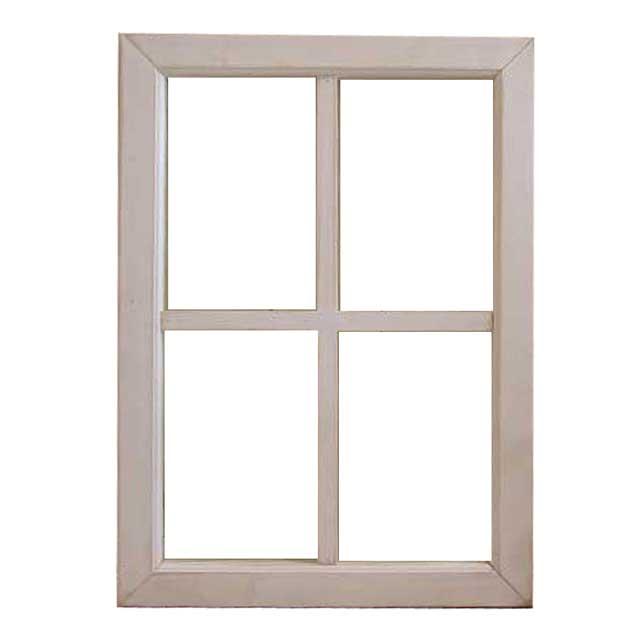 FIX窓 木製 ひのきアンティークホワイト シャビー仕上げ 透明ガラスの室内窓 フィックス窓 両面桟入り 42×58cm・厚み3.5cm オーダーメイド 1327933