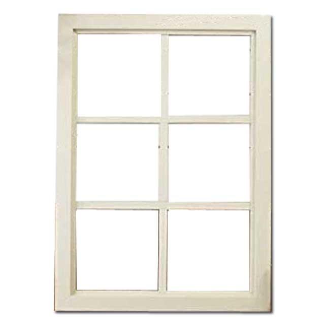 FIX窓・室内窓 木製 ひのき 透明ガラスの室内窓 フィックス窓 両面桟入り 52×72cm・厚み3.5cm アンティークホワイト(シャビー) オーダーメイド 1327933