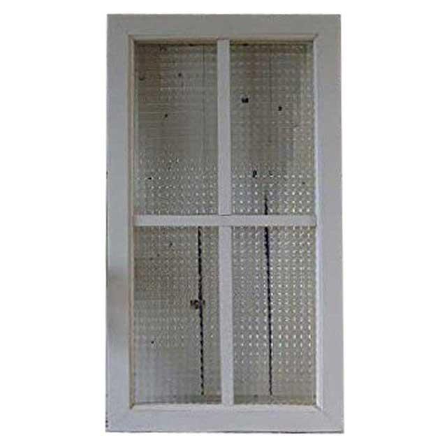 FIX窓 室内窓 木製 ひのき アンティークホワイト シャビー仕上げ チェッカーガラスの室内窓 フィックス窓 両面桟入り 39×70cm・厚み3.5cm オーダーメイド