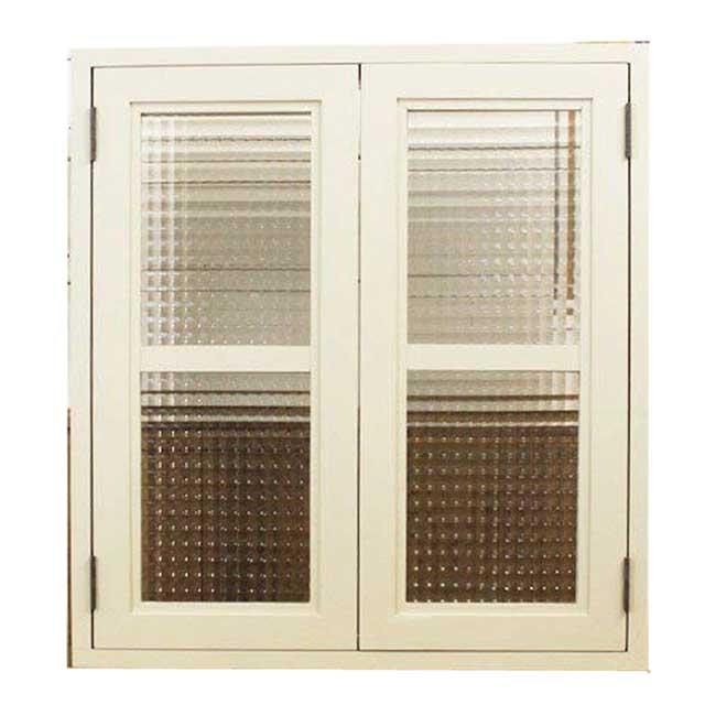 室内窓 採光窓 木製 ひのき チェッカーガラス扉 アンティークホワイト 55×18×60cm 扉厚み3cm 両面仕様桟入り オーダーメイド 1327933