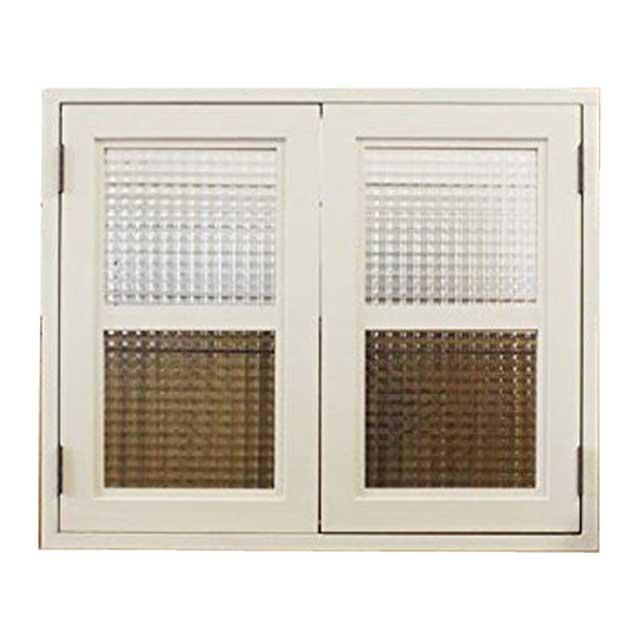 室内窓 採光窓 木製 ひのき フランス製チェッカーガラス扉 アンティークホワイト 60×15×50cm 扉厚み3cm 両面仕様桟入り 受注製作