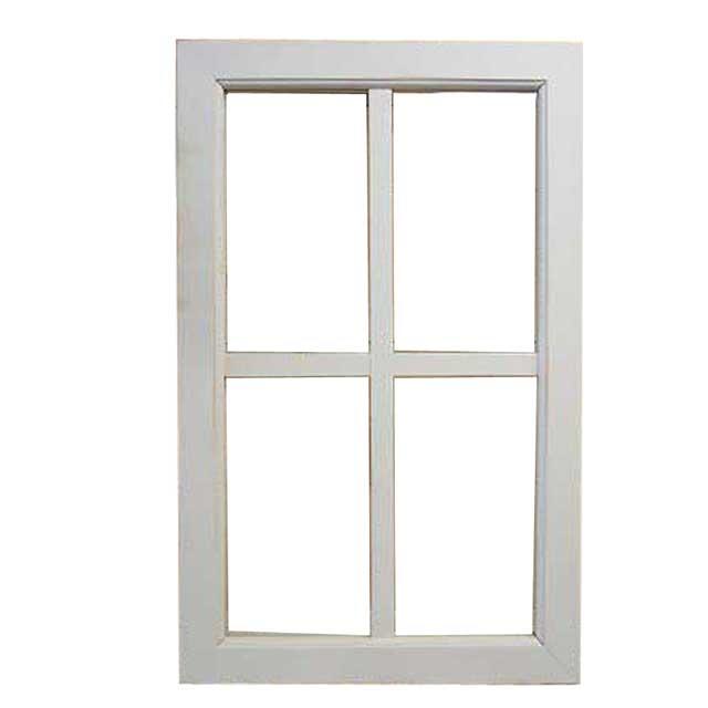 室内窓 透明ガラス アンティークホワイト・シャビー 両面桟入り 38×60cm・厚み3.5cm フィックス窓 木製 ひのき オーダーメイド 1327933