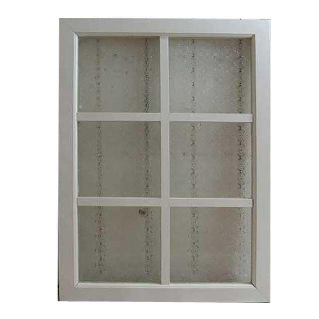 フィックス窓 採光窓 フローラガラスの室内窓 アンティークホワイト FIX窓 両面桟入り 50×70cm・厚み3.5cm オーダーメイド 1327933