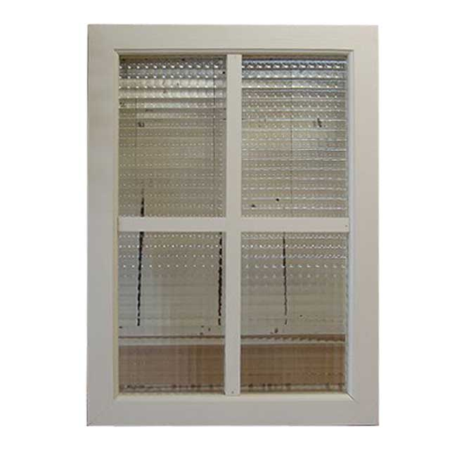 FIX窓 木製 ひのき 採光窓 飾り窓 アンティークホワイト フランス製チェッカーガラスの室内窓 フィックス窓 両面桟入り 42×58cm・厚み3.5cm 受注製作