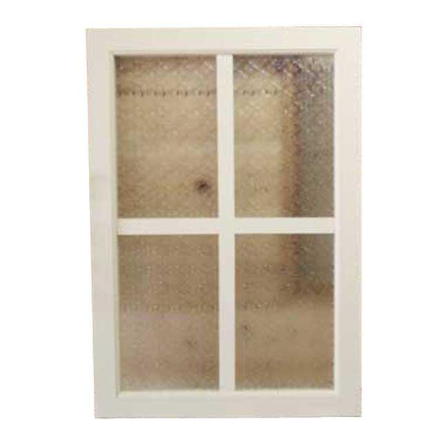 室内窓 採光窓 フローラガラス 木製 ひのき アンティークホワイト フィックス窓 両面桟入り 45×65cm・厚み3.5cm オーダーメイド 1327933