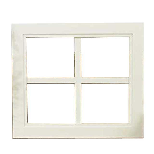 ウッドフレーム 木製 ひのき 窓枠 アンティークホワイト ガラスが入っていないウィンドウフレーム 片面仕様 桟入りフレーム 40×2×35cm オーダーメイド 1327933