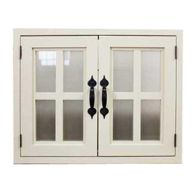 室内窓 採光窓 半透明すりガラス 木製 ひのき アンティークホワイト 50×6×40cm・厚み3cm マグネット仕様 両面桟・アイアン取っ手つき 北欧 オーダーメイド