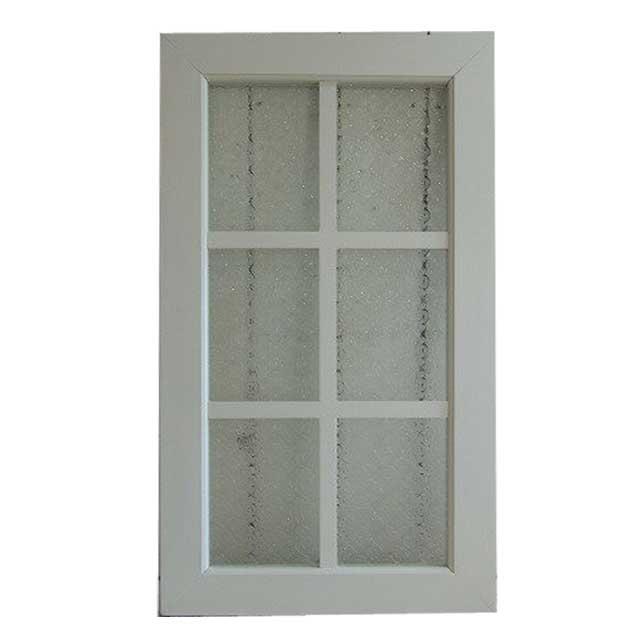 室内窓 フィックス窓 木製 ひのき アンティークホワイト フローラガラス 43×76cm・厚み3.5cm オーダーメイド 1327933