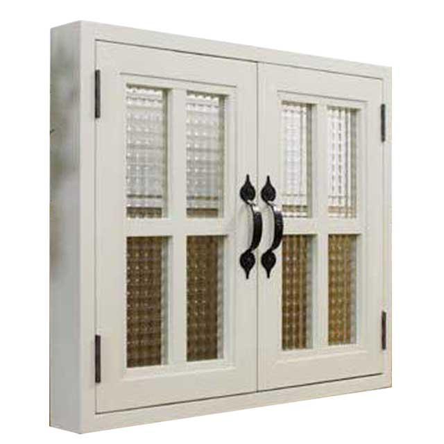 室内窓 チェッカーガラス扉 アンティークホワイト 53×6×45cm 扉厚み3cm 両面十字桟入り 木製 ひのき ハンドメイド オーダーメイド
