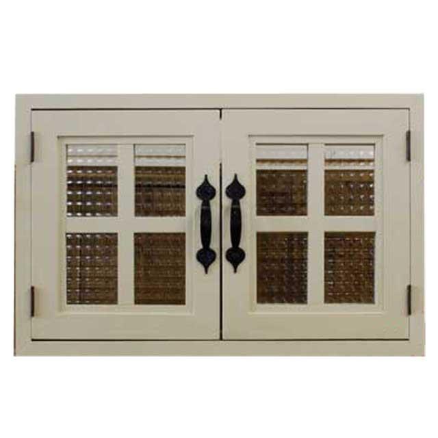室内窓 採光窓 チェッカーガラス 木製 ひのき アンティークホワイト 53×6×34cm・厚み3cm マグネット仕様 両面桟・取っ手つき 北欧 オーダーメイド 1327933