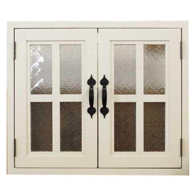 室内窓 採光窓 フローラガラス扉 木製 ひのき アンティークホワイト 53×6×45cm・厚み3cm 両面仕様 桟入り アイアン取っ手つき 北欧 オーダーメイド 1327933