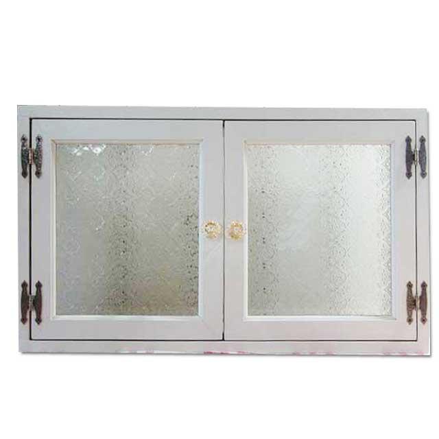 室内窓 採光窓 フローラガラス 木製 ひのき 60×15×36cm パンプキンノブ・マグネット仕様 アンティークホワイト オーダーメイド 1327933