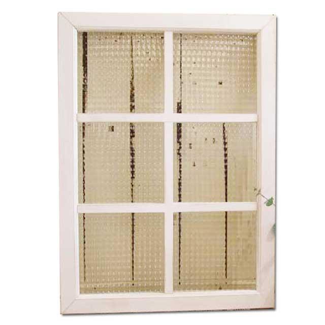 チェッカーガラスの室内窓 両面桟入り 50×70cm・厚み3.5cm アンティークホワイト・シャビー仕上げ カフェ窓 フィックス窓 オーダーメイド 1327933