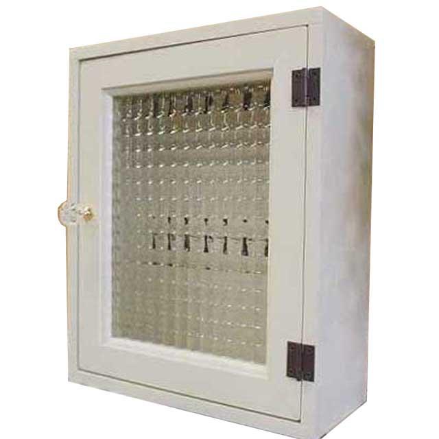 アンティークホワイト チェッカーガラスのキーボックス 25×10×30cm 黒フック(角型タイプ・パンプキンノブ・マグネット仕様)ニッチ用埋め込みタイプ 木製 オーダーメイド 1375327