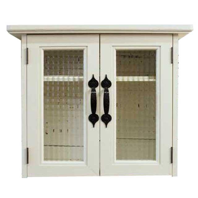 キャビネットシェルフ 木製 ひのき アイアン マグネット チェッカーガラス扉 45×17×37cm フラットタイプ アンティークホワイト オーダーメイド