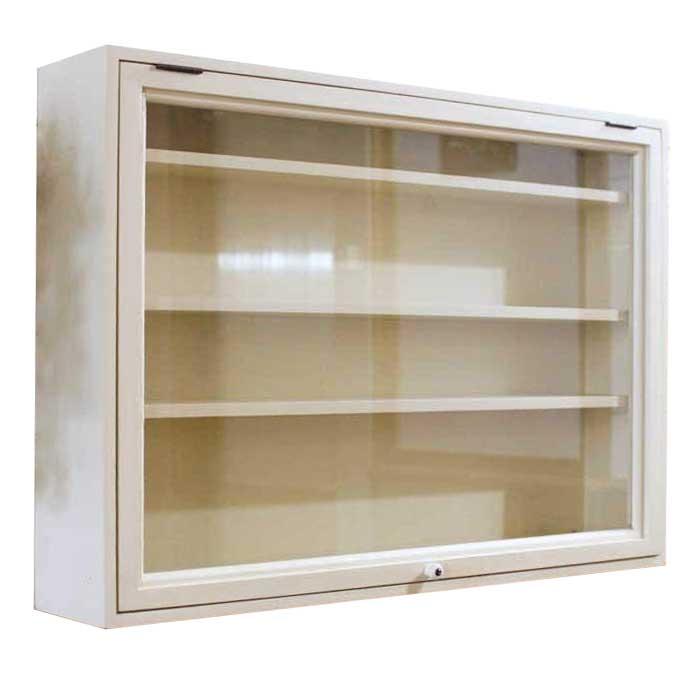 コレクションケース 横型 アンティークホワイト w60d11h42cm 透明ガラス扉 壁掛け 棚付き 木製 ひのき オーダーメイド