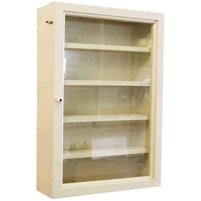コレクションケース 木製 ひのき 透明ガラス扉 壁掛け 棚付き ディスプレイケース ガラスケース 32×10×46cm アンティークホワイト 受注製作