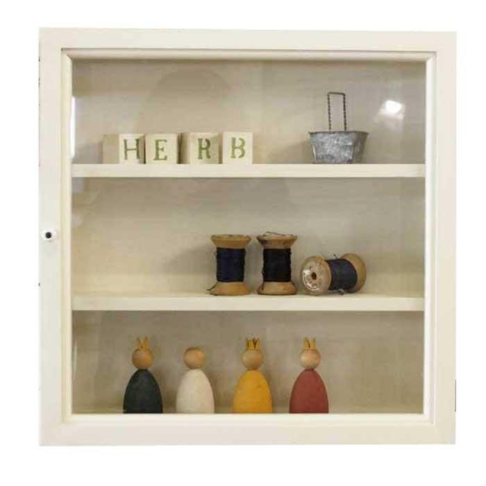 コレクションケース 木製 ひのき 透明ガラス扉 壁掛け ガラスケース 40×10×40cm 棚付き 正方形ケース アンティークホワイト 受注製作