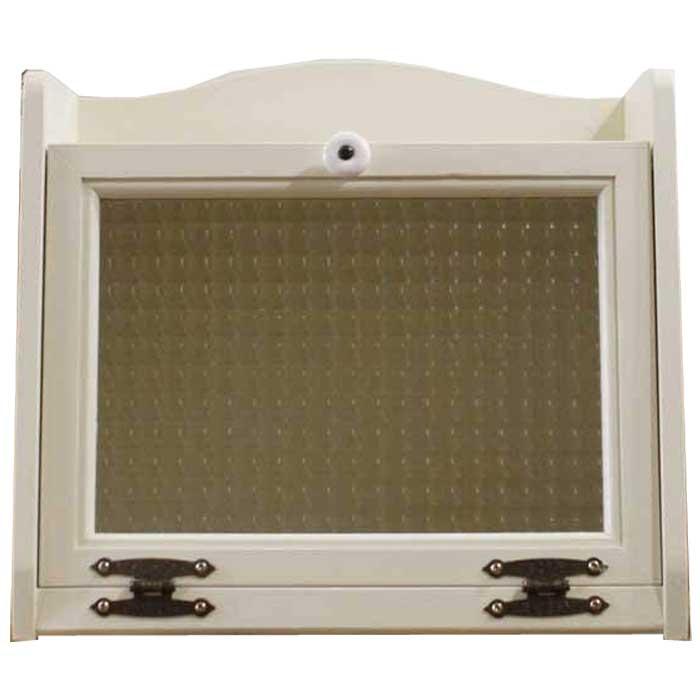 オーダーメイド 木製 w35d25h32cm ひのき チェッカーガラス扉 アンティークホワイト ブレッドケース
