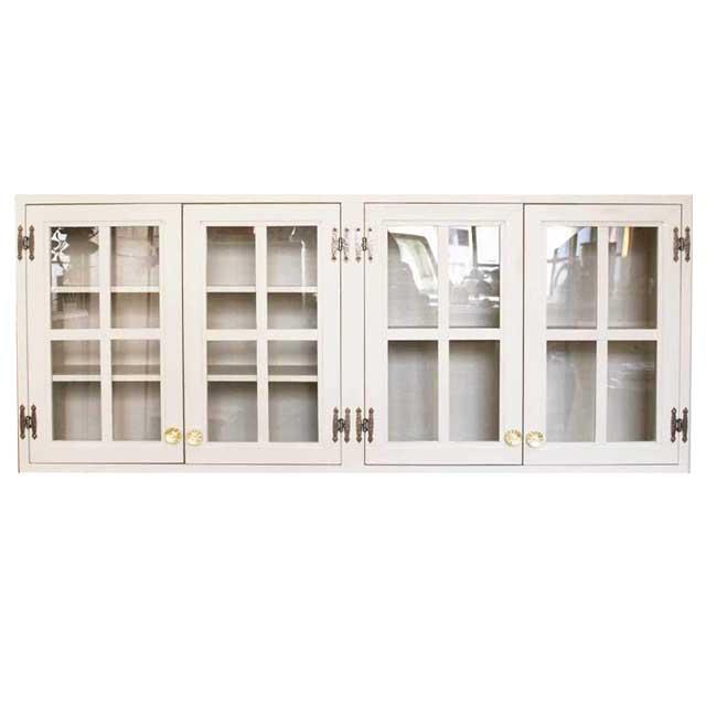 吊り戸棚 桟入り アンティークホワイト w120d30h50cm 透明ガラス扉 パンプキンノブ 木製 ひのき オーダーメイド