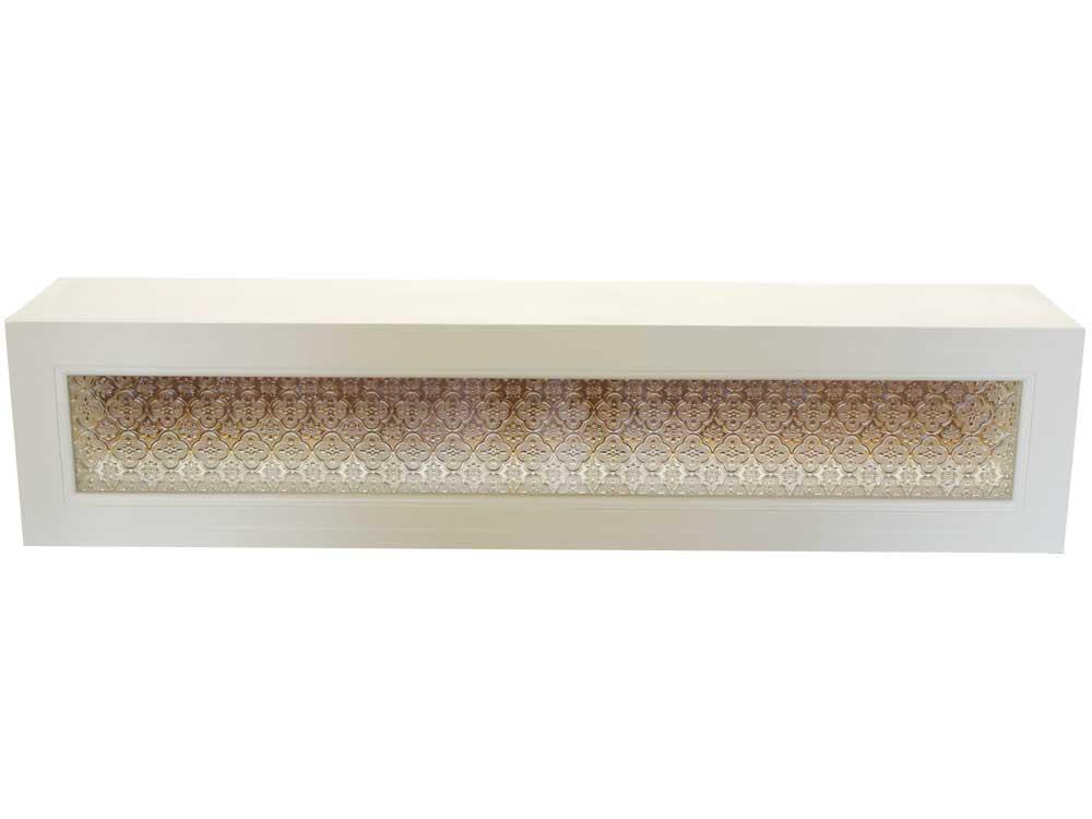 横型キャビネット フローラガラス アンティークホワイト 90x17x20cm 木製 ひのき オーダーメイド