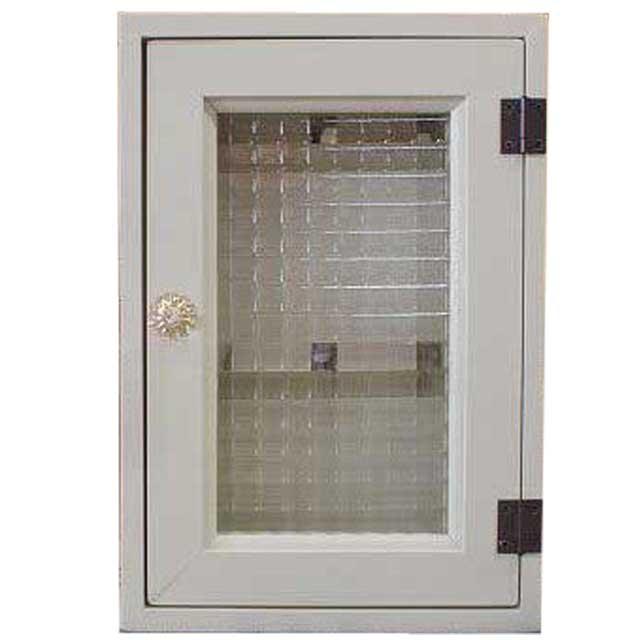 アンティークホワイト チェッカーガラスのパンプキンノブキーボックス 20×7×29cm(角型タイプ・マグネット仕様)ニッチ用埋め込みタイプ 木製 オーダーメイド