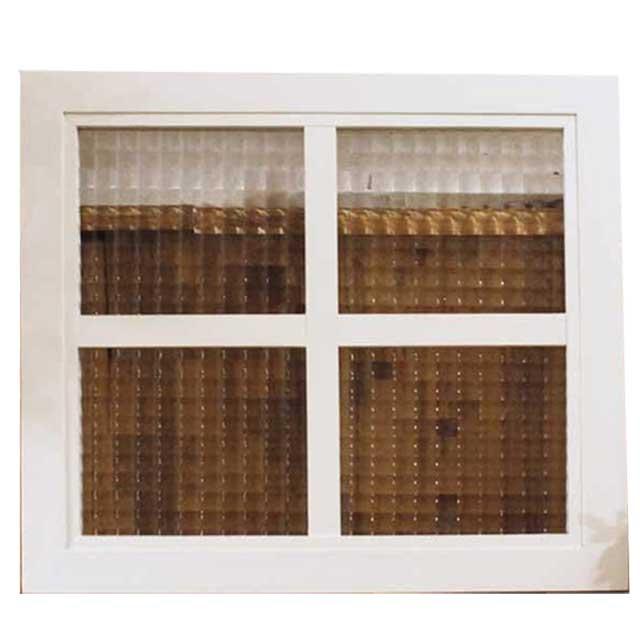 ガラスフレーム 木製 ひのき 室内窓 チェッカーガラス アンティークホワイト 桟入り ガラス窓 40×2×35cm フィックス窓 明り取り窓 北欧 受注製作