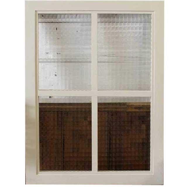 ガラスフレーム 木製 ひのき チェッカーガラス 両面仕様桟入り 45×60cm・厚み2.5cm 北欧 アンティークホワイト オーダーメイド 1327933