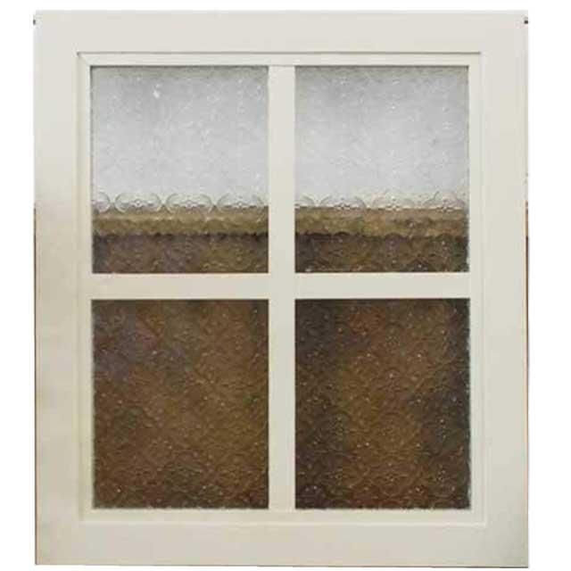 ガラスフレーム 木製 ひのき フローラガラスフレーム 片面 桟入りガラス窓 40×35cm 北欧 アンティークホワイト オーダーメイド 1327933
