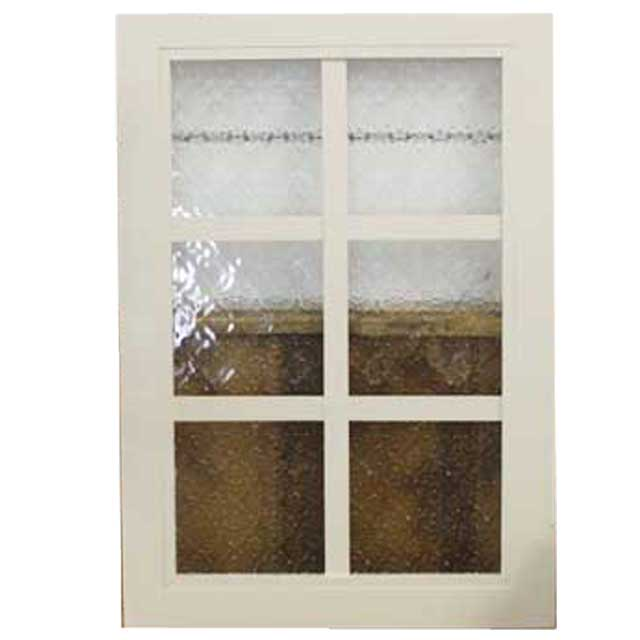 ガラスフレーム 木製 ひのき フローラガラス 片面桟入りガラス窓 35×2×50cm 北欧 アンティークホワイト オーダーメイド 1327933