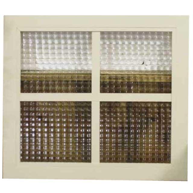 ガラスフレーム FIX窓 室内窓 カフェ窓 チェッカーガラス 片面桟入り ガラス窓 40×2×45cm フィックス窓 明り取り窓 北欧 アンティークホワイト オーダーメイド 1327933