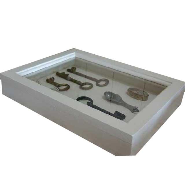 アクセサリーケース つまみなし アンティークホワイト w35d27h6cm 透明ガラス 木製 ひのき オーダーメイド 1380051