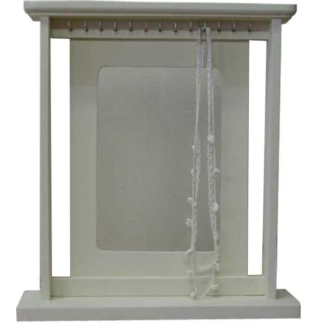 アクセサリースタンド 選べるガラス アンティークホワイト w39d9.5h42cm 木製 ヒノキ オーダーメイド 1361898