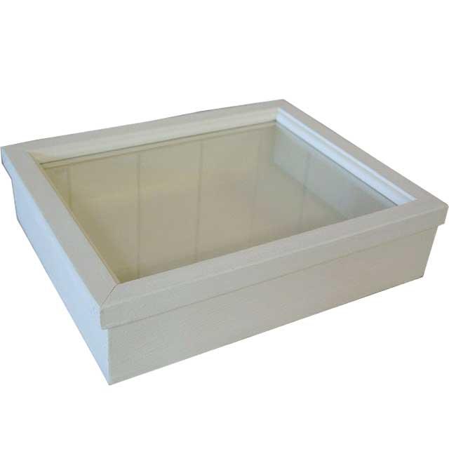 アクセサリーケース 透明ガラス アンティークホワイト w31d25h8cm つまみなし 木製 ひのき オーダーメイド