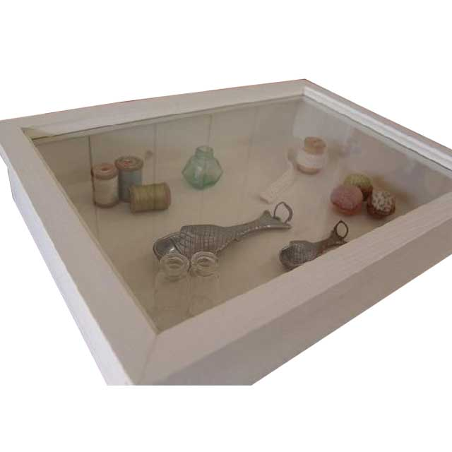 ジュエリーケース透明ガラス アンティークホワイト w41d30h9cm つまみなし 木製 ひのき オーダーメイド