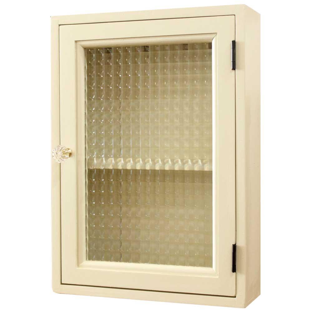 キーボックス アンティークホワイト チェッカーガラス扉 25×8×35cm パンプキンノブ 棚付き ニッチ用 北欧 木製 ひのき オーダーメイド