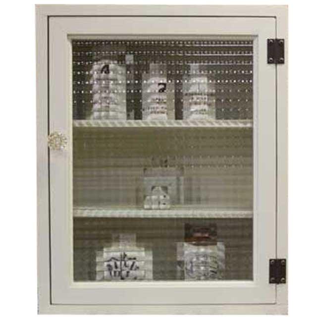 トイレットペーパーキャビネット チェッカーガラス アンティークホワイト w38d14h46cm パンプキンノブ 木製 ひのき オーダーメイド