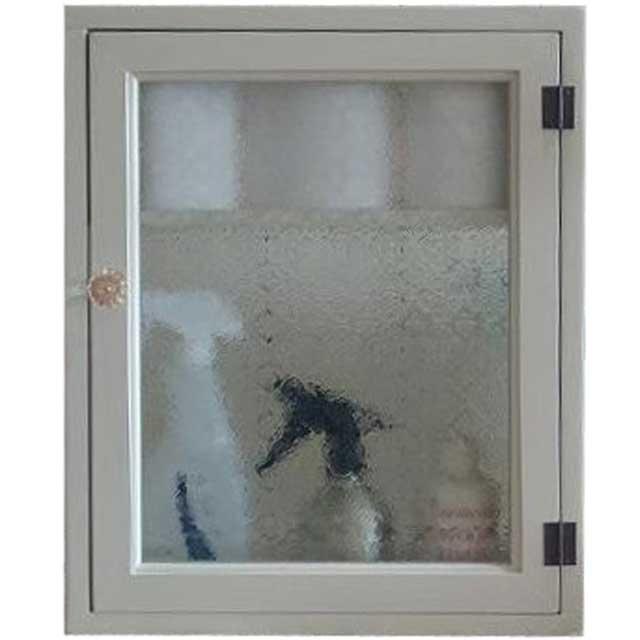 アンティークホワイト フローラガラスのトイレットペーパーキャビネット パンプキンノブ・マグネット・二段仕様(ニッチ用埋め込みタイプ) オーダーメイド
